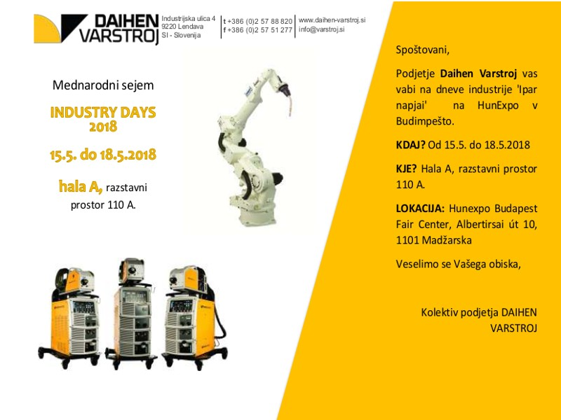 Vabilo Industry days 2018